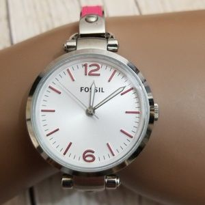 Fossil Pink Leather Silver Bracelet Link Watch